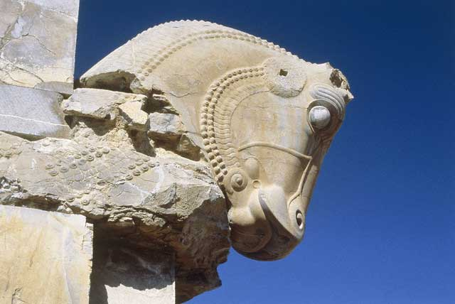 Antique head of a horse in Persepolis, Iran
