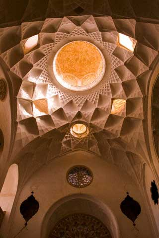 Detail of Tabatabei traditional house ceilings, Kashan, Isfahan province, Iran
