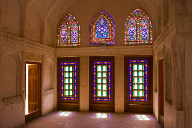 Stained glass windows of traditional house, Kashan, Isfahan province, Iran