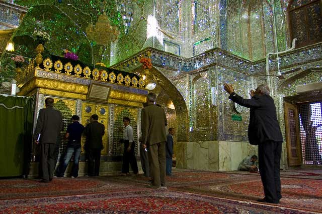 Prayer time inside a Mosque in Shiraz, Fars province, Iran