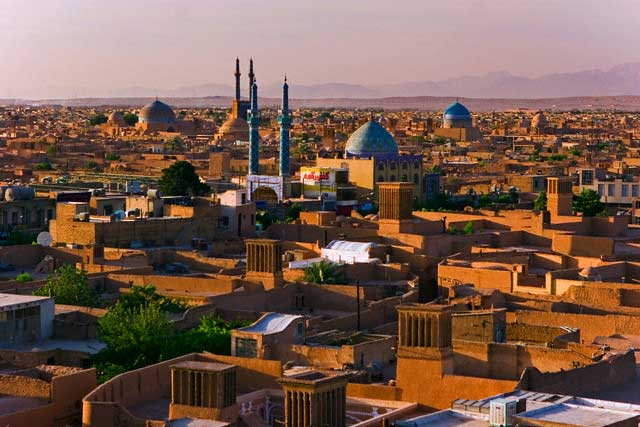 Panorama of Yazd and Jameh Mosque, Yazd, Iran