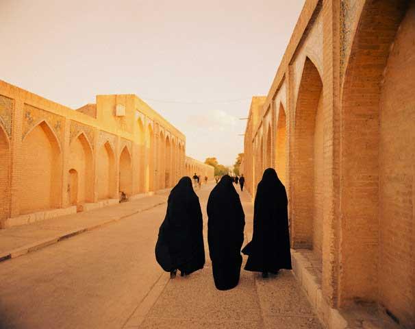 Iranian Women Strolling Down Promenade