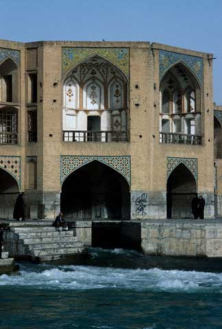 Pavilion on the Khaju Bridge in Esfahan