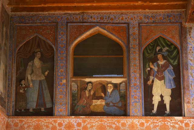 Safavid Fresco Paintings on the Exterior of Chehel Sotun