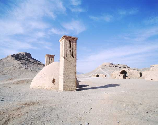 Dakhme-ye-Zartoshti (Tower of Silence) and badgirs (wind towers)