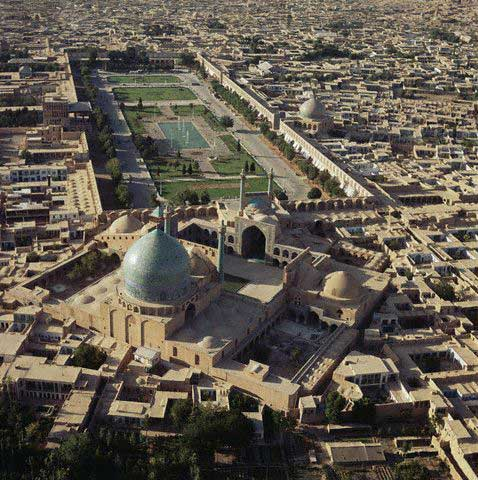 Aerial View of the Maydan-i Shah and Masjid-i Shah in Isfahan, Iran