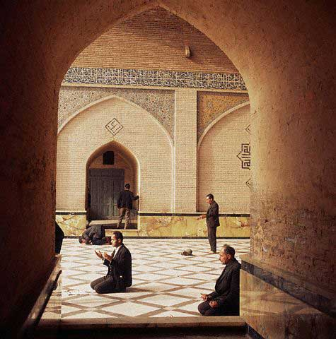 Muslims Praying at Shah Mosque in Tehran