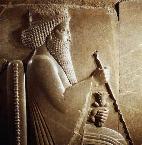 Detail of Darius I from Darius I Receiving a Median Dignitary Relief Sculpture