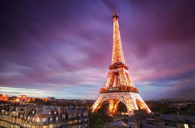 Eiffel Tower Illuminated at Twilight