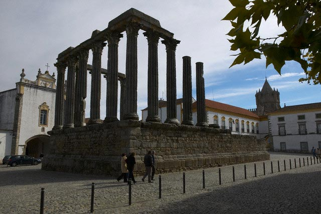 Roman Temple and Convento dos Loios in Evora