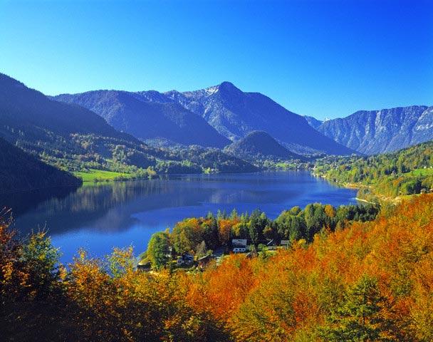 Lake Grundlsee Amid Fall Color