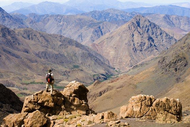 Hiker on Peak in High Atlas Mountains