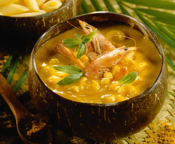 Curried Prawn Soup in Coconut Shell