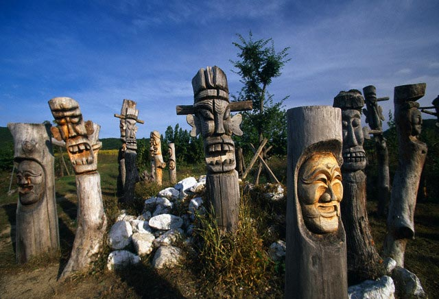Sculptures at Hahoe Village