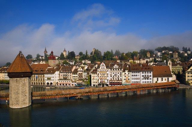 Wasserturm and Kapellbrucke Bridge in Lucerne