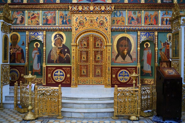 Interior of the Russian Orthodox church, Mosc