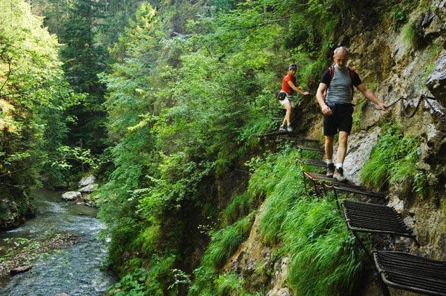 Hikers Exploring the Hornadu Gorge on Metal T