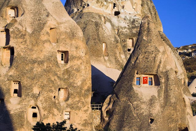 Apartments Built into Rock Formations