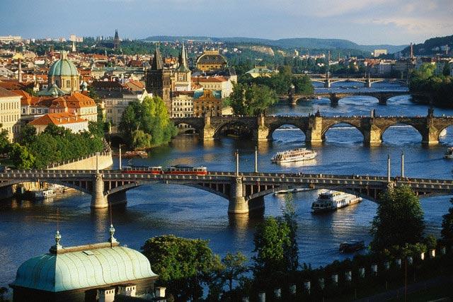 Prague Bridges over Vltava River