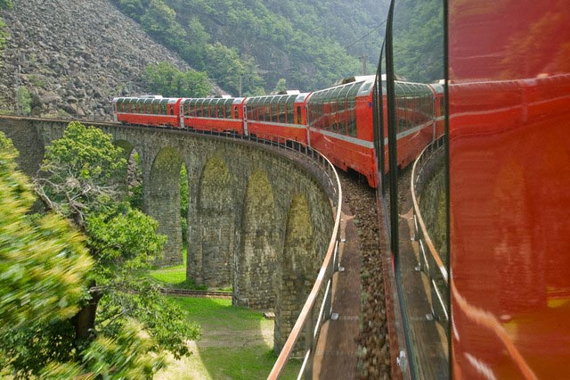 The Bernina Express Train on Top of Viaduct