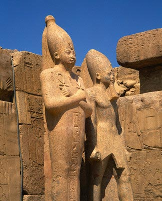 Pharoah statues, Great Temple of Amun, Karnak