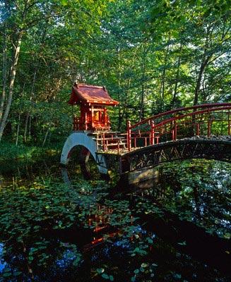 Painted bridge and Shinto Shrine, Hokkaido, J