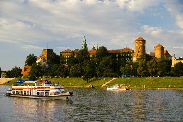 Tour Boat Driving Past Wawel Castle