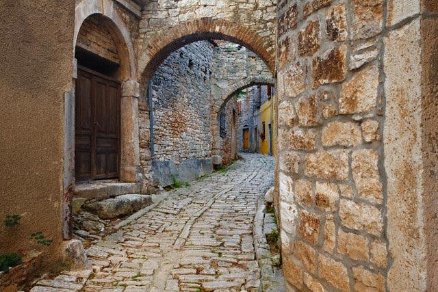 Narrow Cobblestone Street in Croatian Town of