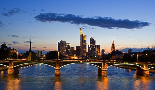 Bridge Over Main River in Frankfurt