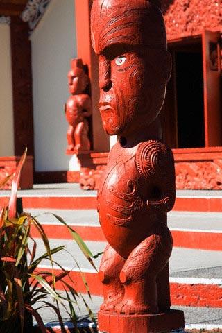 Maori Carvings Outside Te Aronui a Rua Meetin