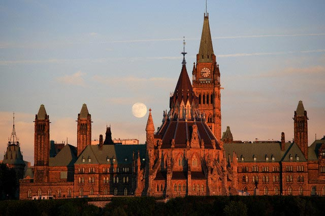 Parliament Building in Ottawa at Moonrise