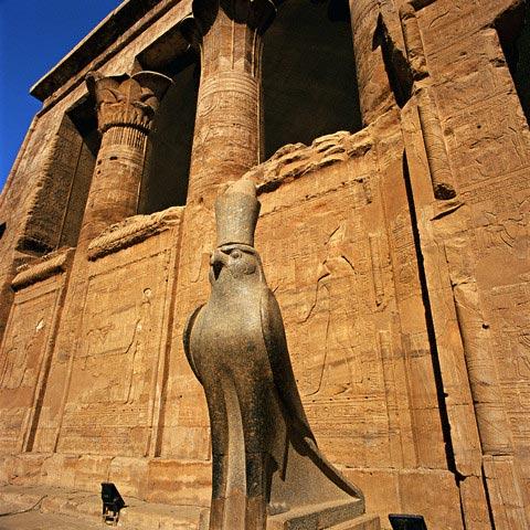 Statue of Horus Outside Temple of Horus