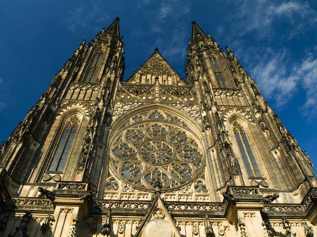 Facade of St. Vitus Cathedral in Prague Castl
