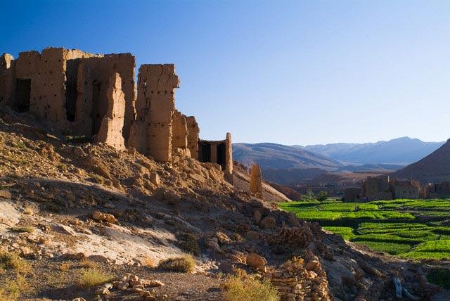 Fields Below Berber Village of Tamtatouchte
