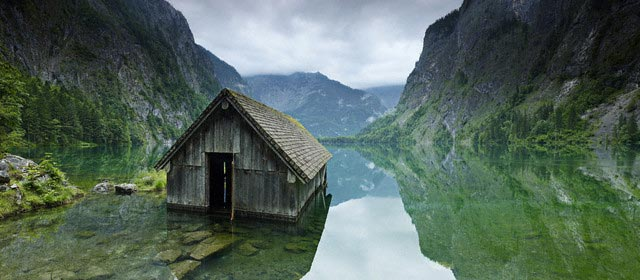 Fishing Hut in Lake of Berchtesgaden National