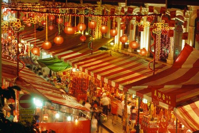 Stalls with lanterns, Chinatown, Singapore