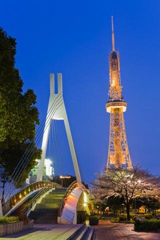 Nagoya TV Tower and Footbridge at Twilight