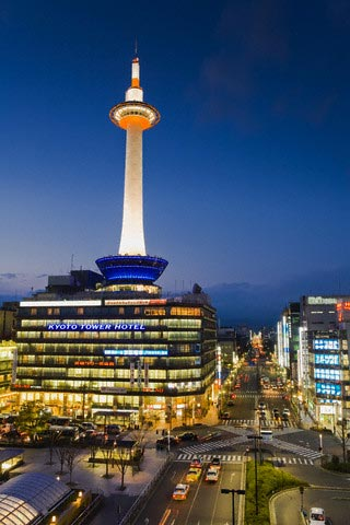 Kyoto Tower Hotel at Twilight