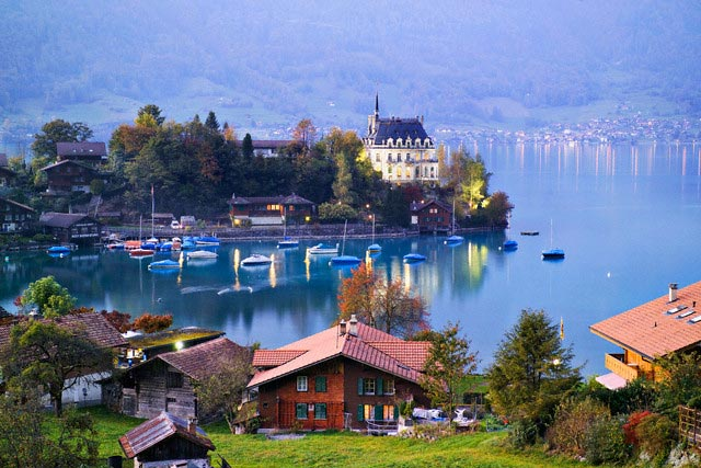 Iseltwald and lake, Lake Brienz
