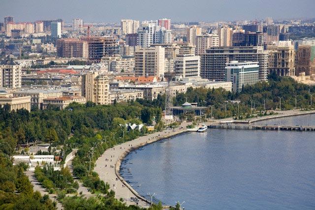 Azerbaijan, Baku, View of Baku bay