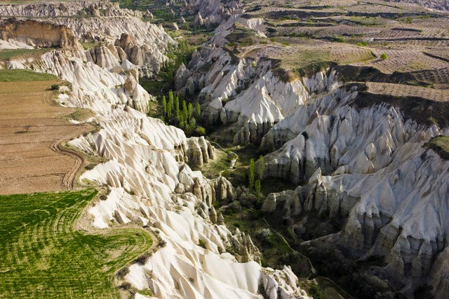 Aerial view of the Tufa rock formations and l