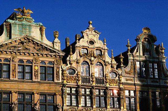 Facades of Guild Houses in Brussel's Grand Pl