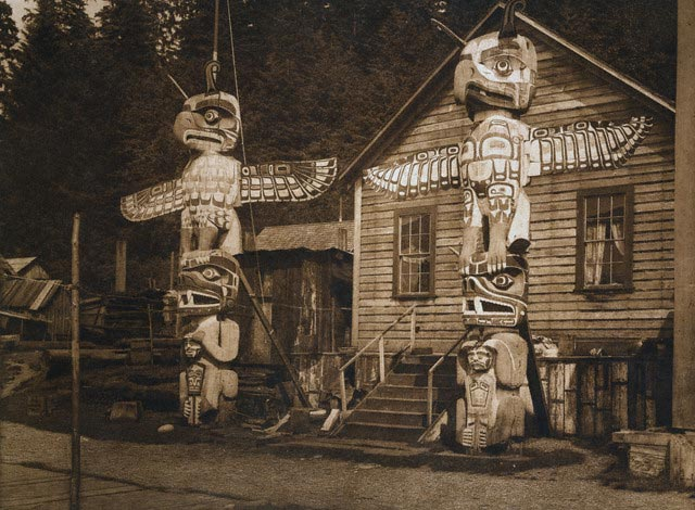 Carved Posts at Alert Bay by Edward S. Curtis