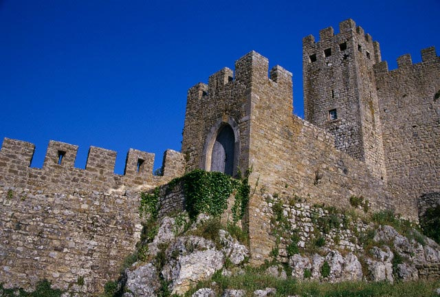 Towers of Obidos Castle in Portugal
