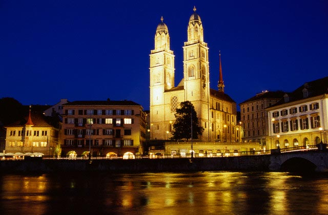 Grossmunster Cathedral and Zurich Waterfront