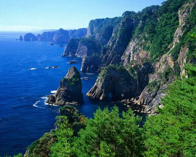 Kitayamazaki Cliffs Meeting Ocean