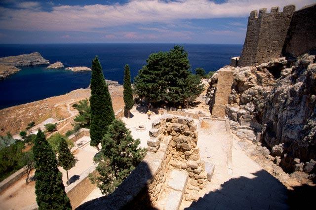 Column Ruins at the Acropolis of Lindos
