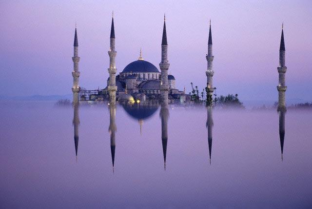 Reflection of Blue Mosque Minarets
