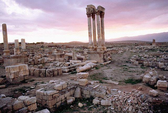 The Roman Tetrakionion of Anjar at Sunset, Le