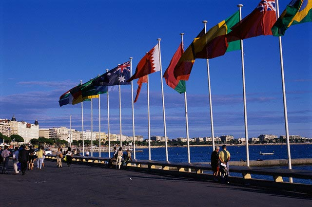 Flags Lining Promenade in Cannes